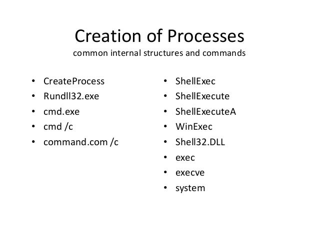 Creation of Processes common internal structures and commands  • • • • •  CreateProcess Rundll32.exe cmd.exe cmd /c comman...