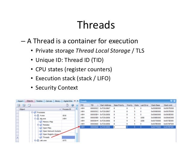 Threads – A Thread is a container for execution • • • • •  Private storage Thread Local Storage / TLS Unique ID: Thread ID...