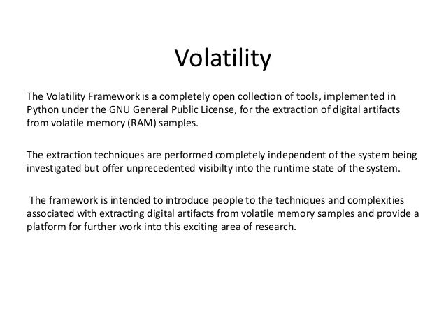 """Volatility Usually you run """"vol.py"""" to execute volatility, but on the Linux VM we have 3 versions of volatility installed ..."""