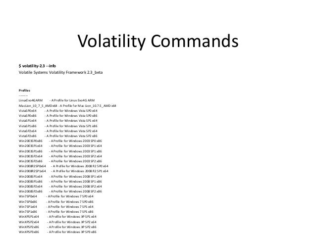 Volatility Roadmap •  Volatility 2.2 (Official Linux Support)  •  RC1: Sept 10, 2012 Release: Oct 2, 2012  • • • • • •  * ...