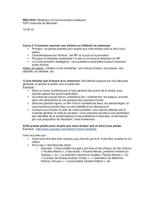 RED 2010- Rédaction et Communication publiquesFEP Université de Montréal12.09.12Cours 2 / Comment raconter une histoire ou...