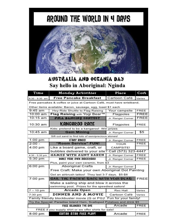 Around the world in 4 DAys                      Australia and Oceania Day                  Say hello in Aboriginal: Nginda...