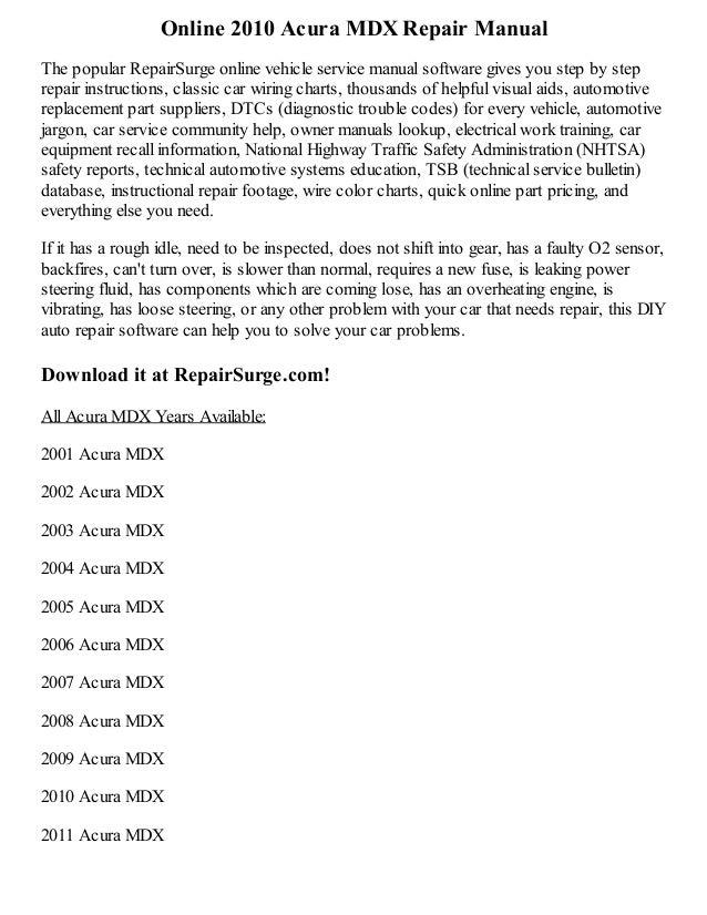 Acura mdx repair manual   ebay.