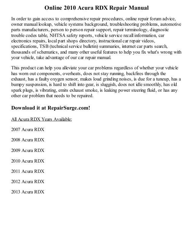 2013 rdx manual