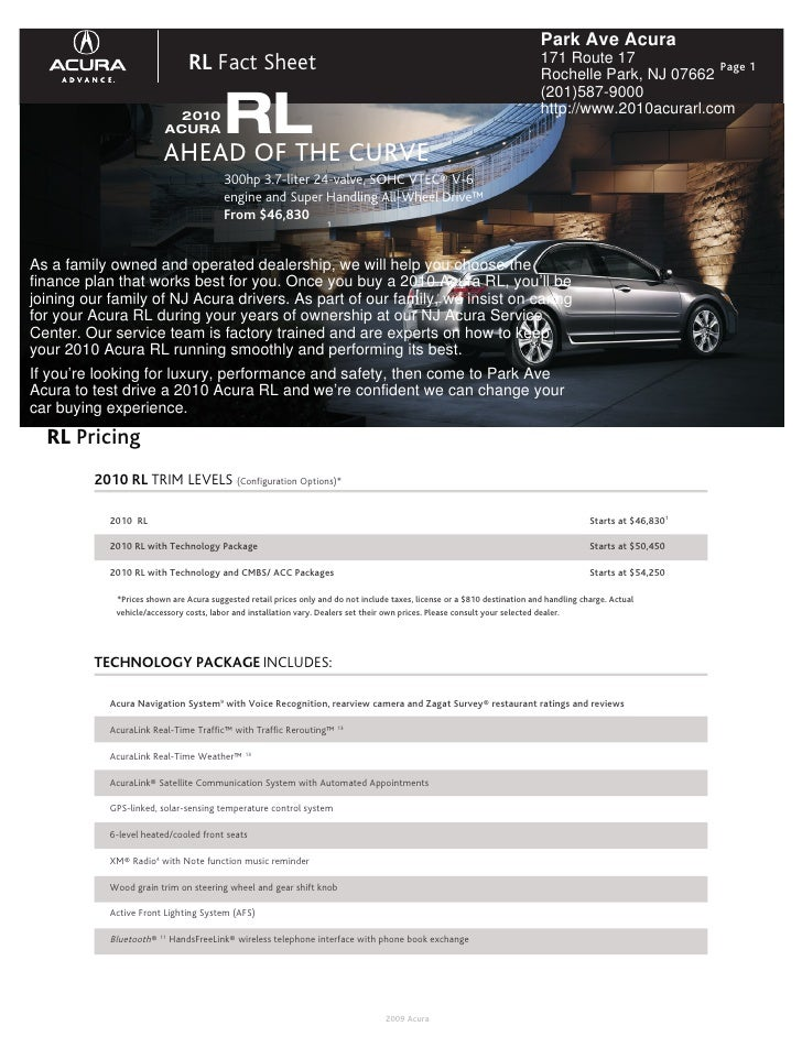 Park Ave Acura                                RL Fact Sheet                                                               ...