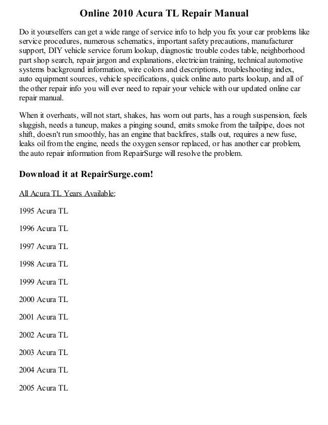 2010 acura tl repair manual online rh slideshare net 2004 Acura TL Owner's Manual 2004 Acura TL Manual Book