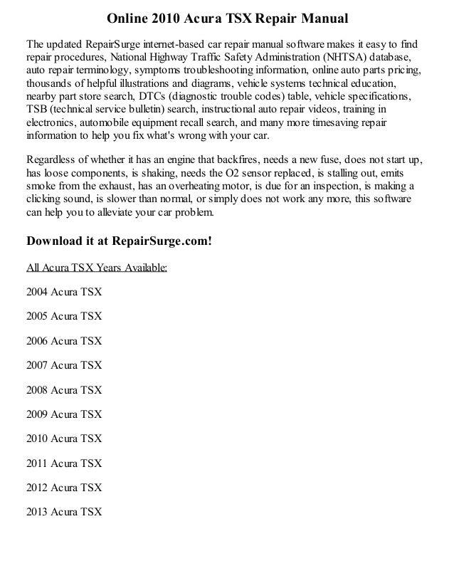 Acura Tsx Repair Manual Online - 2005 acura tsx repair manual