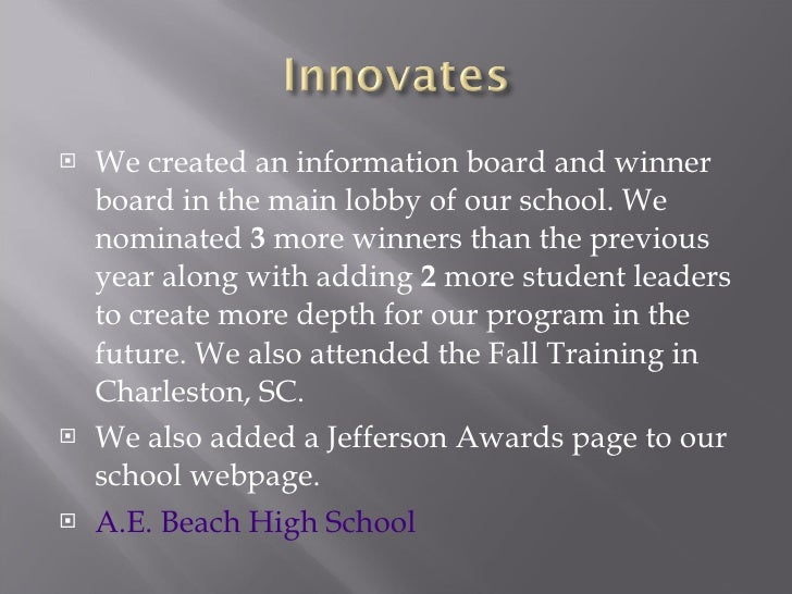 Used Car Dealerships In Savannah Ga >> Alfred E. Beach High School - 2010 Jefferson Awards ...