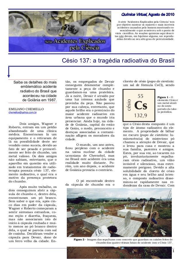 1 Química Virtual, Agosto de 2010 A série 'Acidentes Explicados pela Ciência' tem por objetivo mostrar os maiores e mais i...