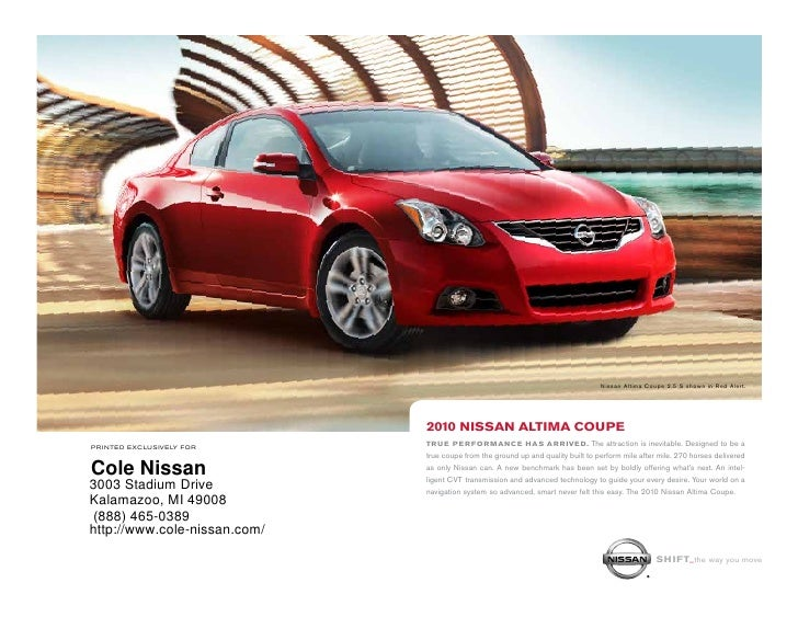 ... Cole Nissan Kalamazoo MI. Nissan Altima Coupe 2.5 S Shown In Red Alert.