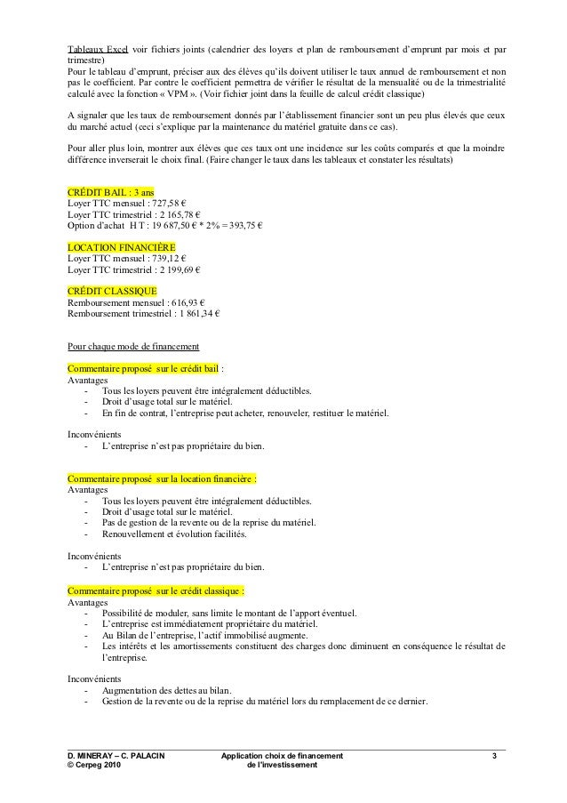 2010 appli choix financement investissement corrige - Tableau d emprunt excel ...