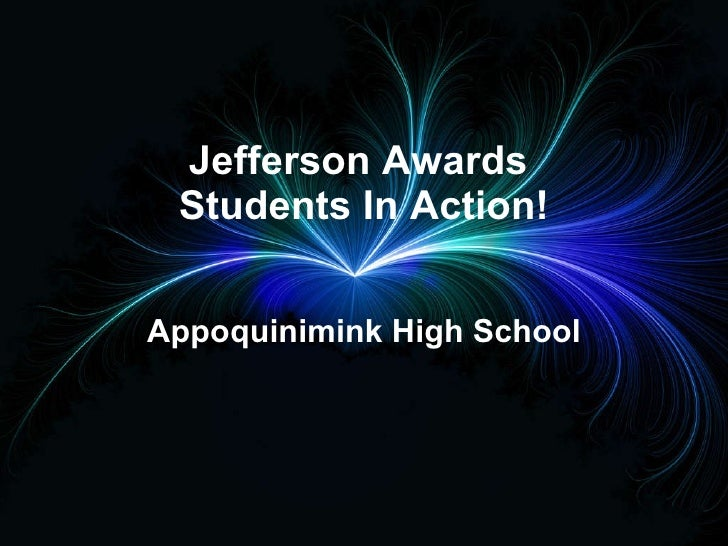 Jefferson Awards  Students In Action! Appoquinimink High School