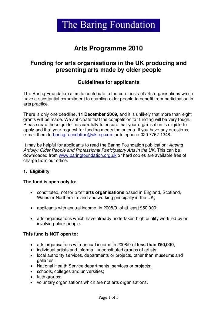 Arts Programme 2010     Funding for arts organisations in the UK producing and            presenting arts made by older pe...