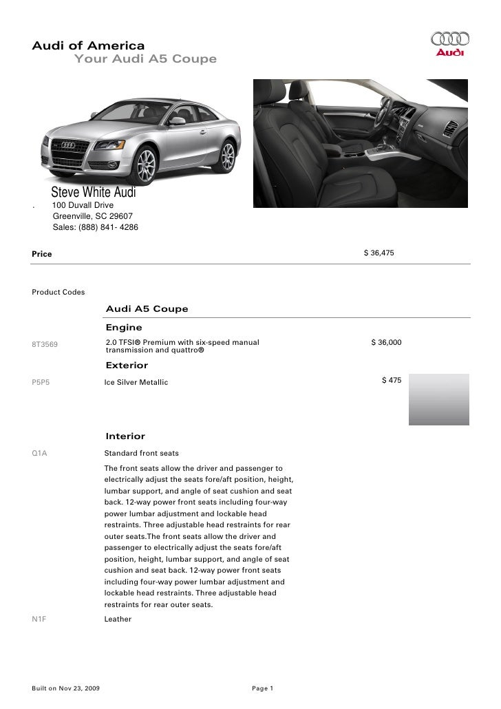 2010 Audi A5 Coupe Brochure Greenville Columbia Sc