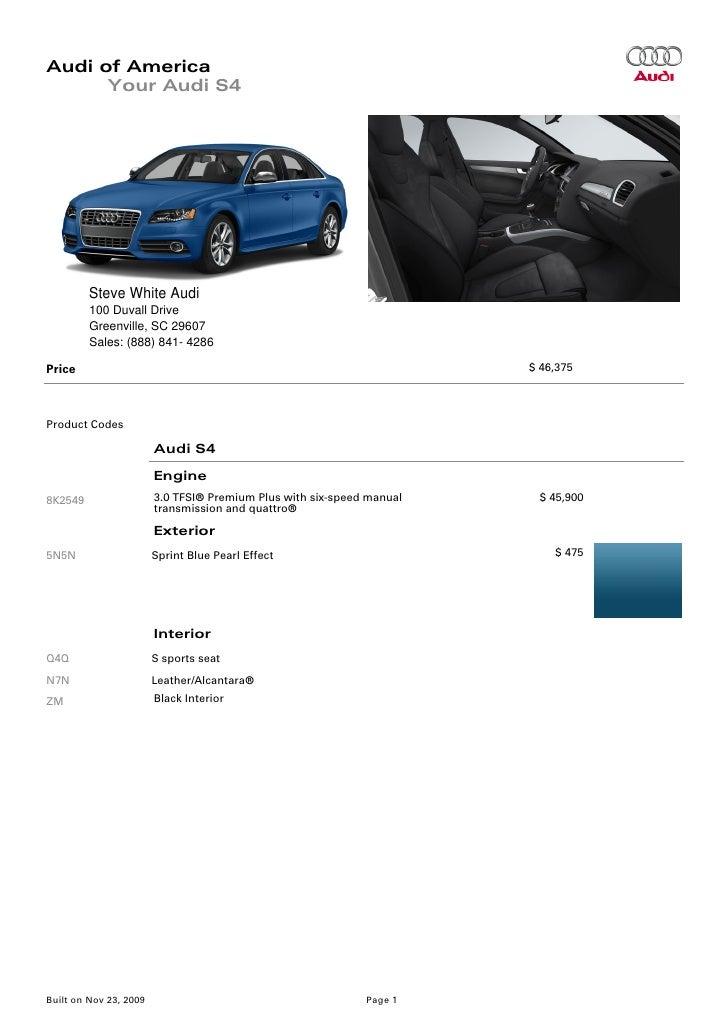 Audi S Brochure Greenville Columbia SC - Steve white audi