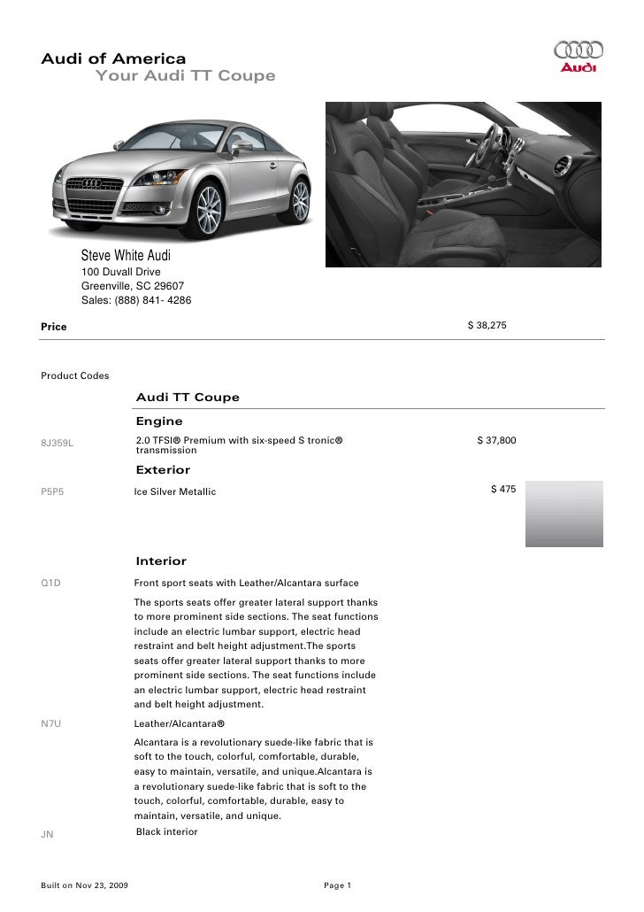 2010 Audi Tt Coupe Brochure Greenville Columbia Sc