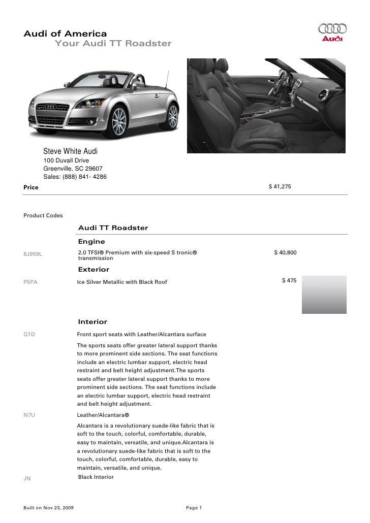 Audi TT RoadsterGreenville Columbia SC - Steve white audi