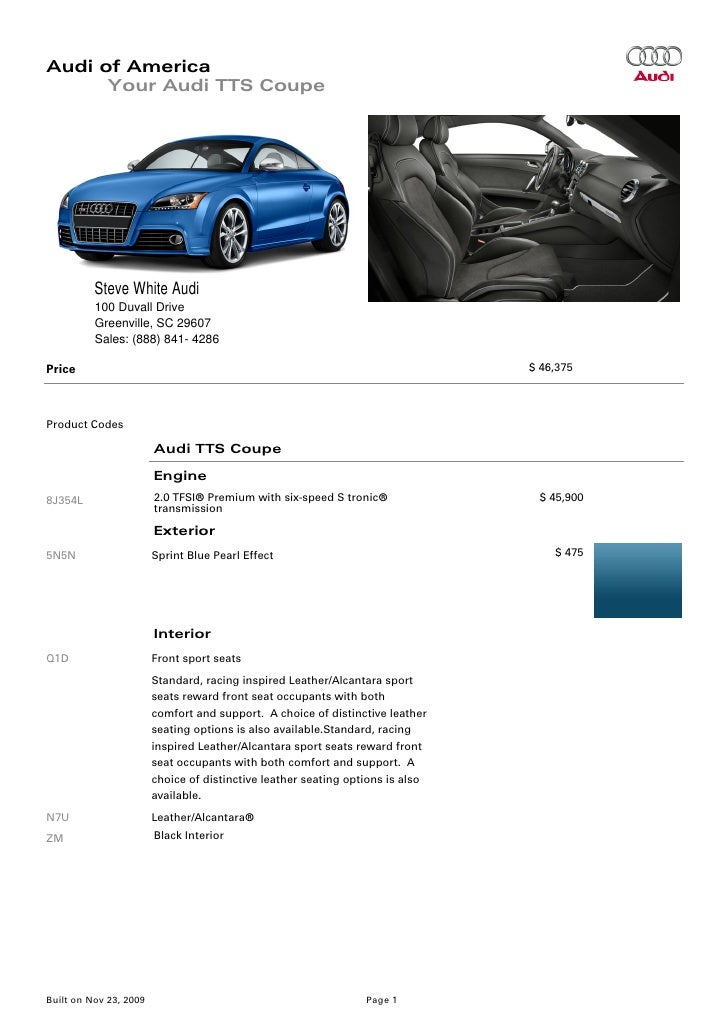 2010 Audi Tts Coupe Greenville Columbia Sc