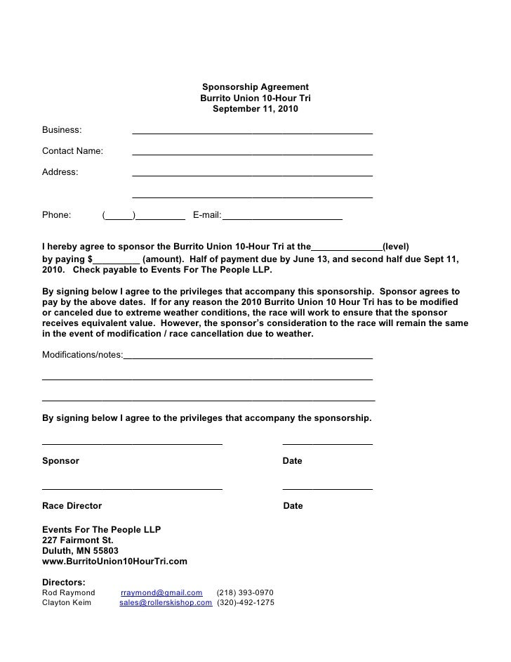 Doc460595 Sponsorship Contract Sponsorship Agreement Template – Sponsorship Agreement Template