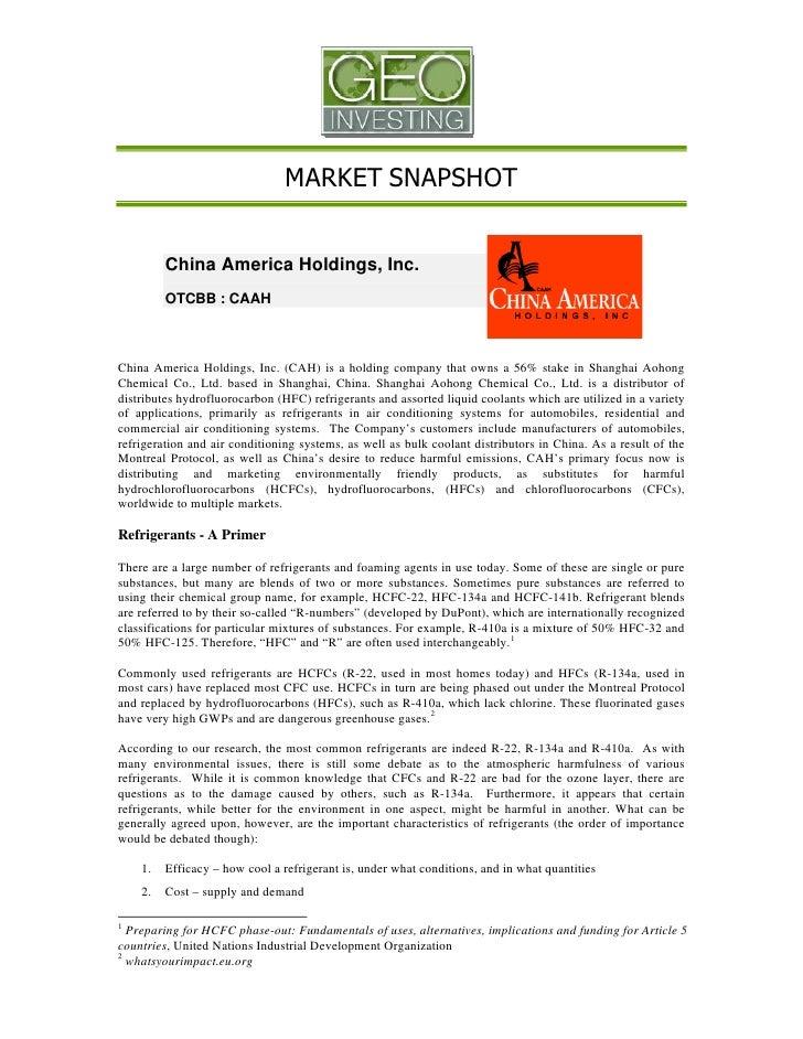 MARKET SNAPSHOT            China America Holdings, Inc.          OTCBB : CAAH    China America Holdings, Inc. (CAH) is a h...