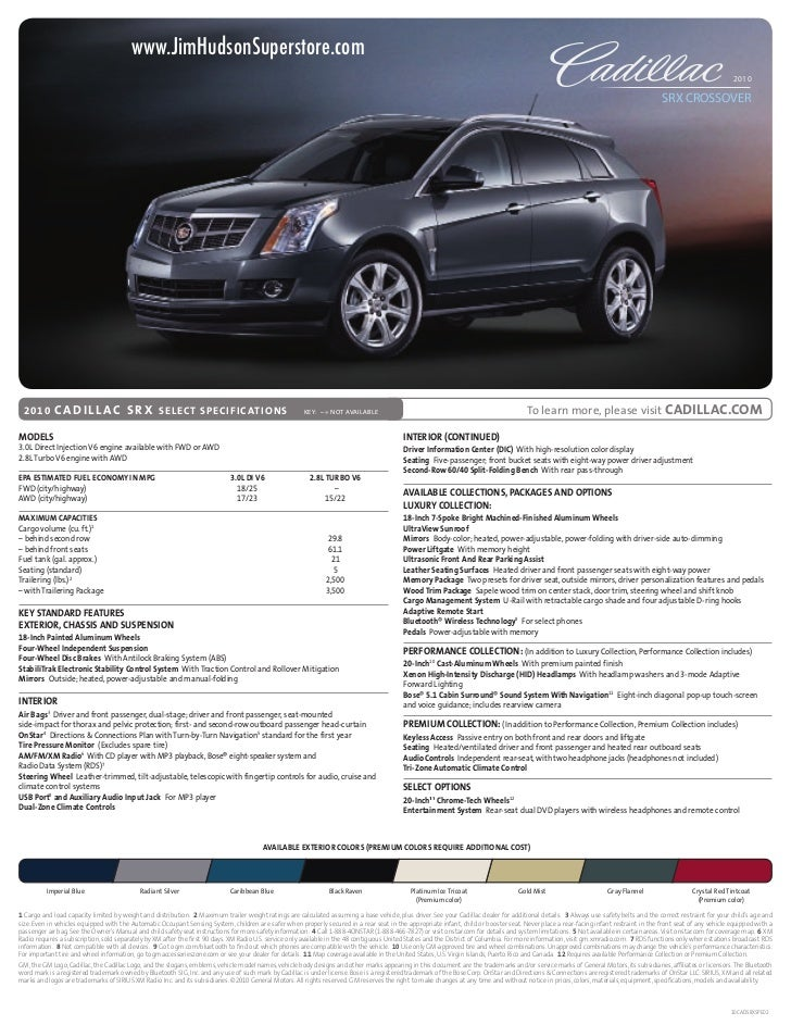 www.JimHudsonSuperstore.com                                        2010                              SRX CROSSOVER