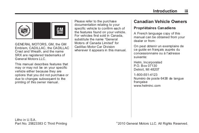 2010 cadillac srx owners manual rh slideshare net 2010 cadillac escalade owners manual pdf 2010 cadillac escalade owners manual pdf