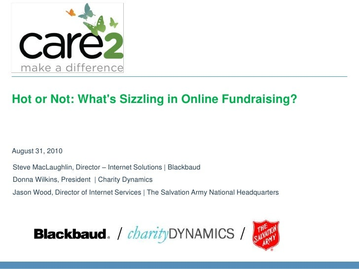 Hot or Not: What's Sizzling in OnlineFundraising?<br />August 31, 2010<br />Steve MacLaughlin, Director – Internet Soluti...