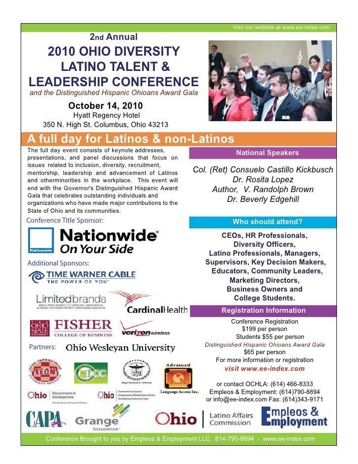 Visit our website at www.ee-index.com                        2nd Annual   2010 OHIO DIVERSITY     LATINO TALENT & LEADERSH...