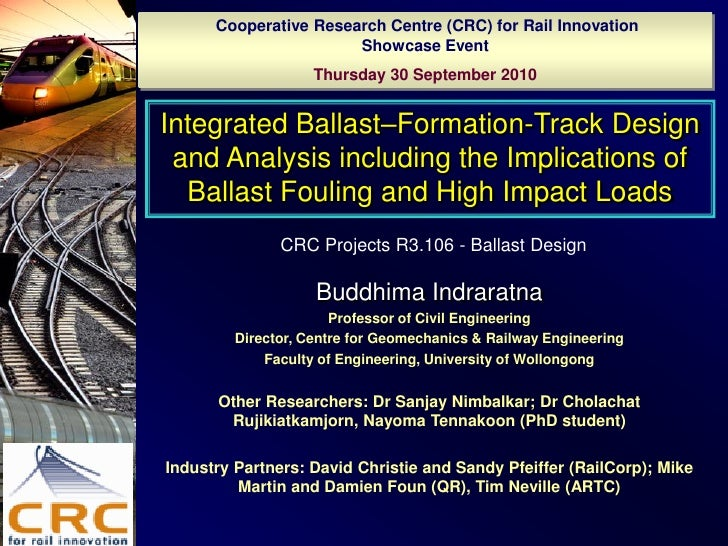 Cooperative Research Centre (CRC) for Rail Innovation                        Showcase Event                     Thursday 3...