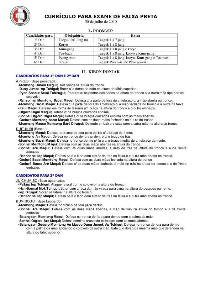 CURRÍCULO PARA EXAME DE FAIXA PRETA 30 de julho de 2010 I - POOM-SE: Candidatos para Obrigatória Extra 1º Dan Taeguk Pal J...