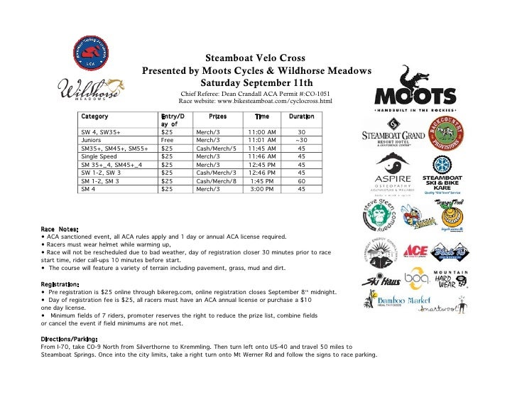 Steamboat Velo Cross                                    Presented by Moots Cycles & Wildhorse Meadows                     ...