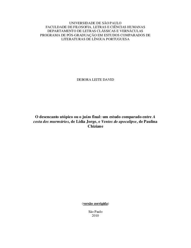 UNIVERSIDADE DE SÃO PAULO     FACULDADE DE FILOSOFIA, LETRAS E CIÊNCIAS HUMANAS      DEPARTAMENTO DE LETRAS CLÁSSICAS E VE...