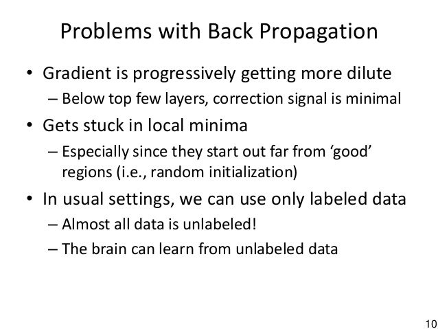 10 Problems with Back Propagation • Gradient is progressively getting more dilute – Below top few layers, correction signa...
