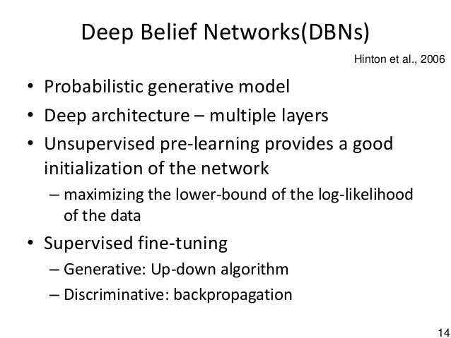14 • Probabilistic generative model • Deep architecture – multiple layers • Unsupervised pre-learning provides a good init...