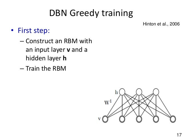 17 DBN Greedy training • First step: – Construct an RBM with an input layer v and a hidden layer h – Train the RBM Hinton ...