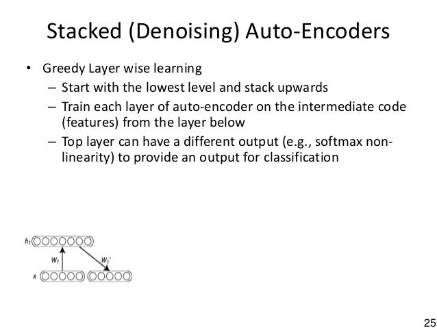 25 Stacked (Denoising) Auto-Encoders • Greedy Layer wise learning – Start with the lowest level and stack upwards – Train ...