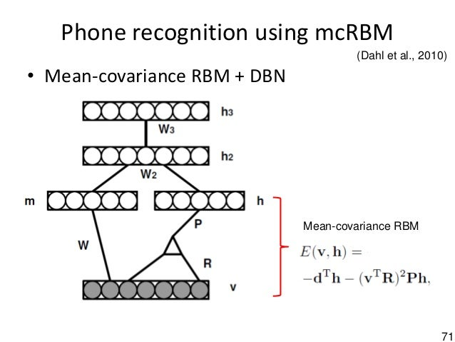 71 Phone recognition using mcRBM • Mean-covariance RBM + DBN Mean-covariance RBM (Dahl et al., 2010)