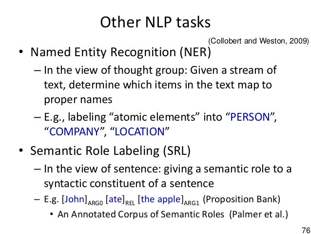 76 Other NLP tasks • Named Entity Recognition (NER) – In the view of thought group: Given a stream of text, determine whic...