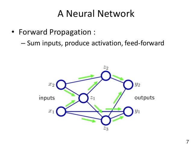 7 A Neural Network • Forward Propagation : – Sum inputs, produce activation, feed-forward