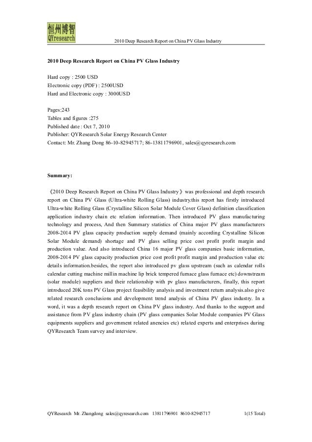2010 Deep Research Report on China PV Glass Industry 2010 Deep Research Report on China PV Glass Industry Hard copy : 2500...