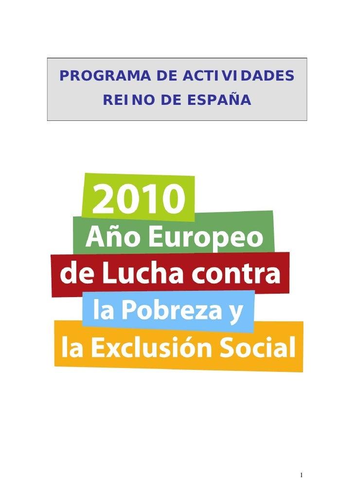PROGRAMA DE ACTIVIDADES     REINO DE ESPAÑA                               1