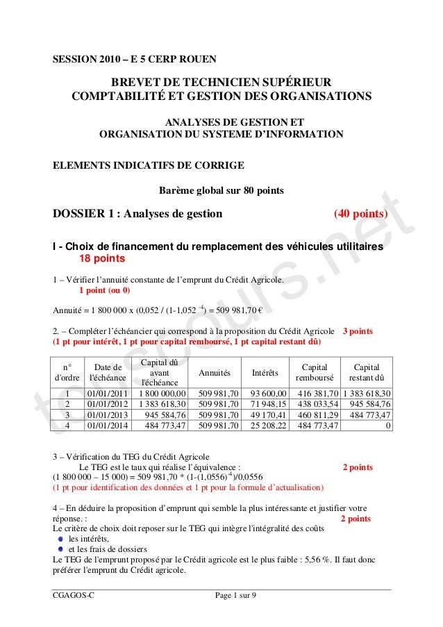 SESSION 2010 – E 5 CERP ROUEN           BREVET DE TECHNICIEN SUPÉRIEUR       COMPTABILITÉ ET GESTION DES ORGANISATIONS    ...