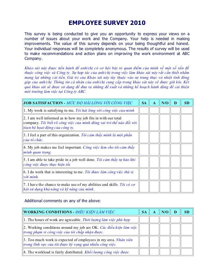 EMPLOYEE SURVEY 2010This survey is being conducted to give you an opportunity to express your views on anumber of issues a...