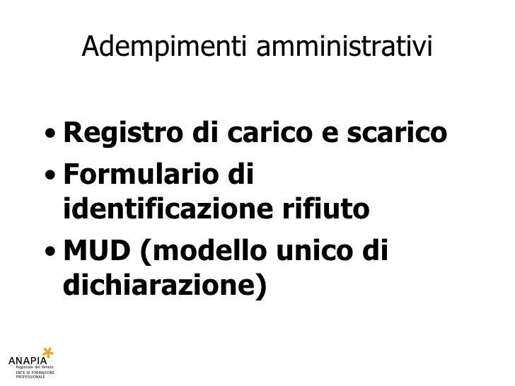 2010 faggin marta anapia  lezione  02 - rifiuti adempimenti amministrativi Slide 2