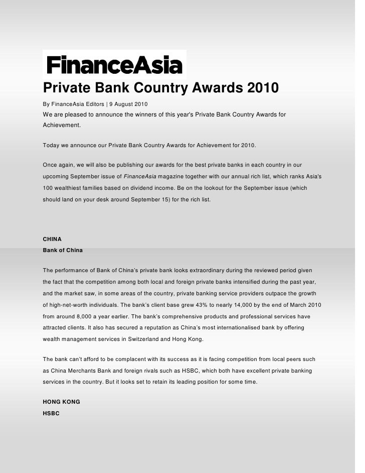 Private Bank Country Awards 2010By FinanceAsia Editors | 9 August 2010We are pleased to announce the winners of this years...