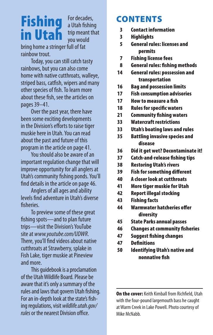 2010 state of utah fishing guidebook for Utah fishing license cost