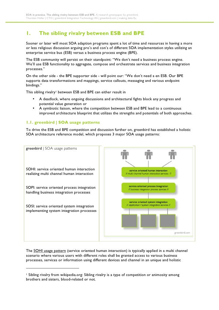 SOA in practice. The sibling rivalry between ESB and BPE. A research greenpaper by greenbird. Thorsten Heller   CTO   gree...
