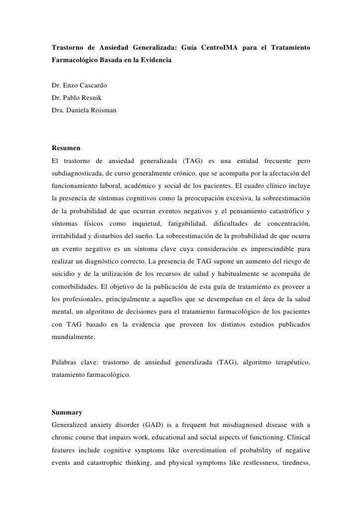 Trastorno de Ansiedad Generalizada: Guía CentroIMA para el Tratamiento Farmacológico Basada en la Evidencia   Dr. Enzo Cas...