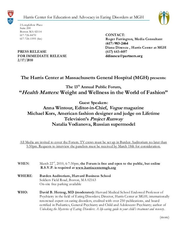 Harris Center for Education and Advocacy in Eating Disorders at MGH 2 Longfellow Place Suite 200 Boston MA 02114 617-726-8...