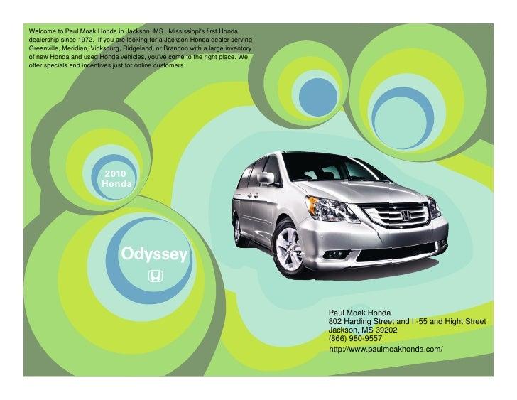 Honda Dealership Jackson Ms >> 2010 Honda Odyssey Jackson